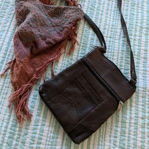 Dark Brown Leather patchwork crossbody purse